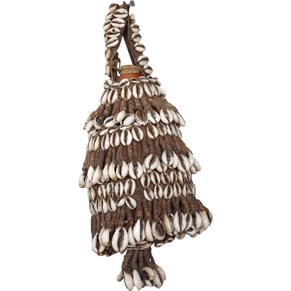 Vintage Small Ethiopian Cowrie Shell and Leather Gourd Milk Jug