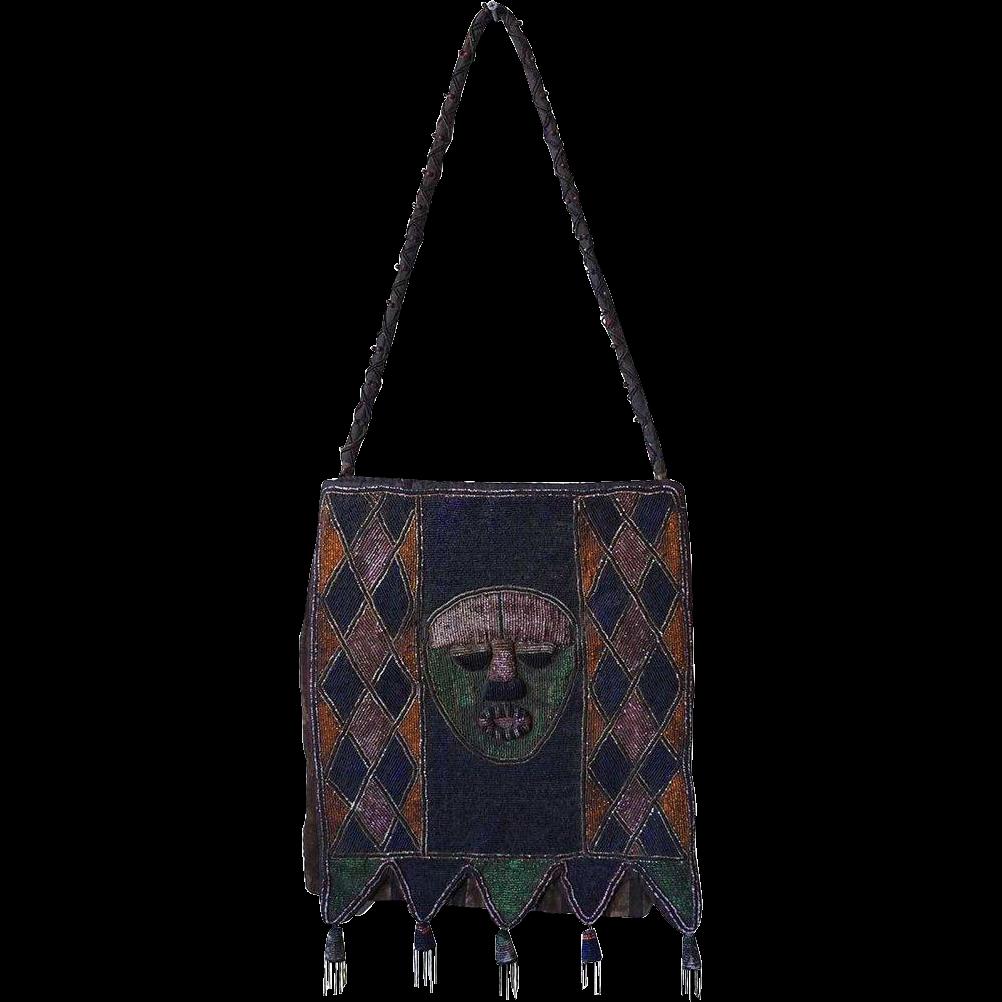 Vintage African Yoruba Diviner's Beaded Bag (Apo Ifa)