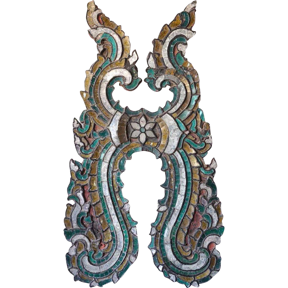 Burmese Inlaid Glass Teak Architectural Fragment