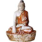Burmese Mandalay Style Carved and Painted Marble Seated Buddha Statue