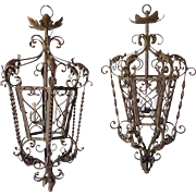 Pair of Spanish/French Wrought Iron Three-Light Hanging Lanterns
