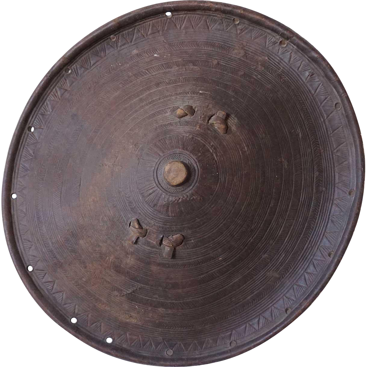 Vintage African Ethiopian Leather Round Tribal Shield