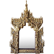 Large Burmese Buddhist Gilt and Glass Inlaid Wall Mirror