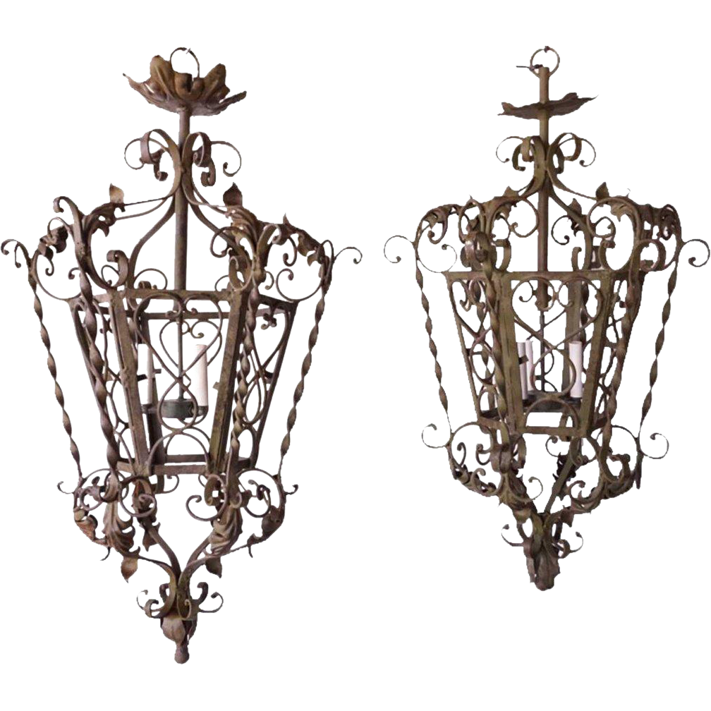 Pair of Spanish/French Wrought Iron Three-Light Hanging Lanterns