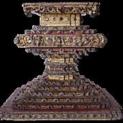 Burmese Gilt and Inlaid Glass Buddha Pedestal