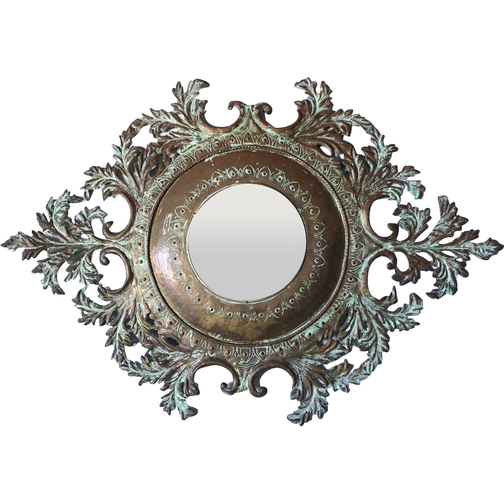 French Patinated Brass Foliate Frame Round Wall Mirror