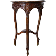 French Marble Top Beechwood Side Table