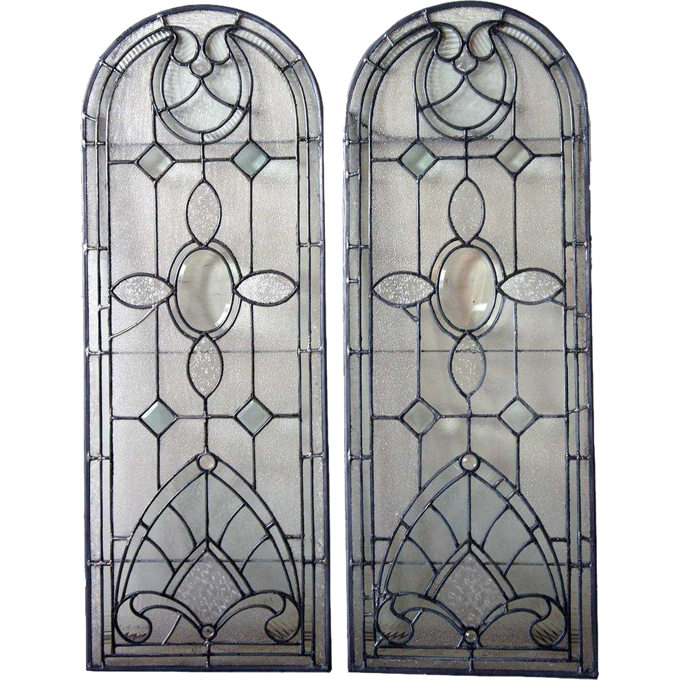 Pair of American Leaded and Beveled Glass Arched Windows