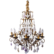 Large French Gilt Wrought Iron, Amethyst and Rock Crystal 11-Light Chandelier