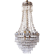 Small French Empire Style Beaded Crystal Four-Light Pendant Hall Light
