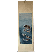 Vintage Taiwanese Ink and Color Hanging Vertical Scroll Painting, School of Carp