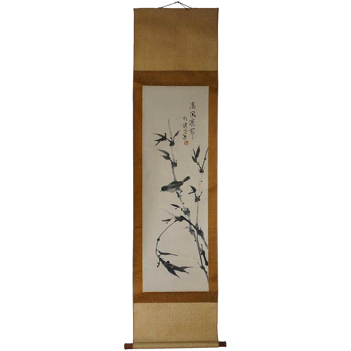 Vintage Japanese Ink Brush (Sumi-e) Hanging Scroll Painting (Kakejiku)