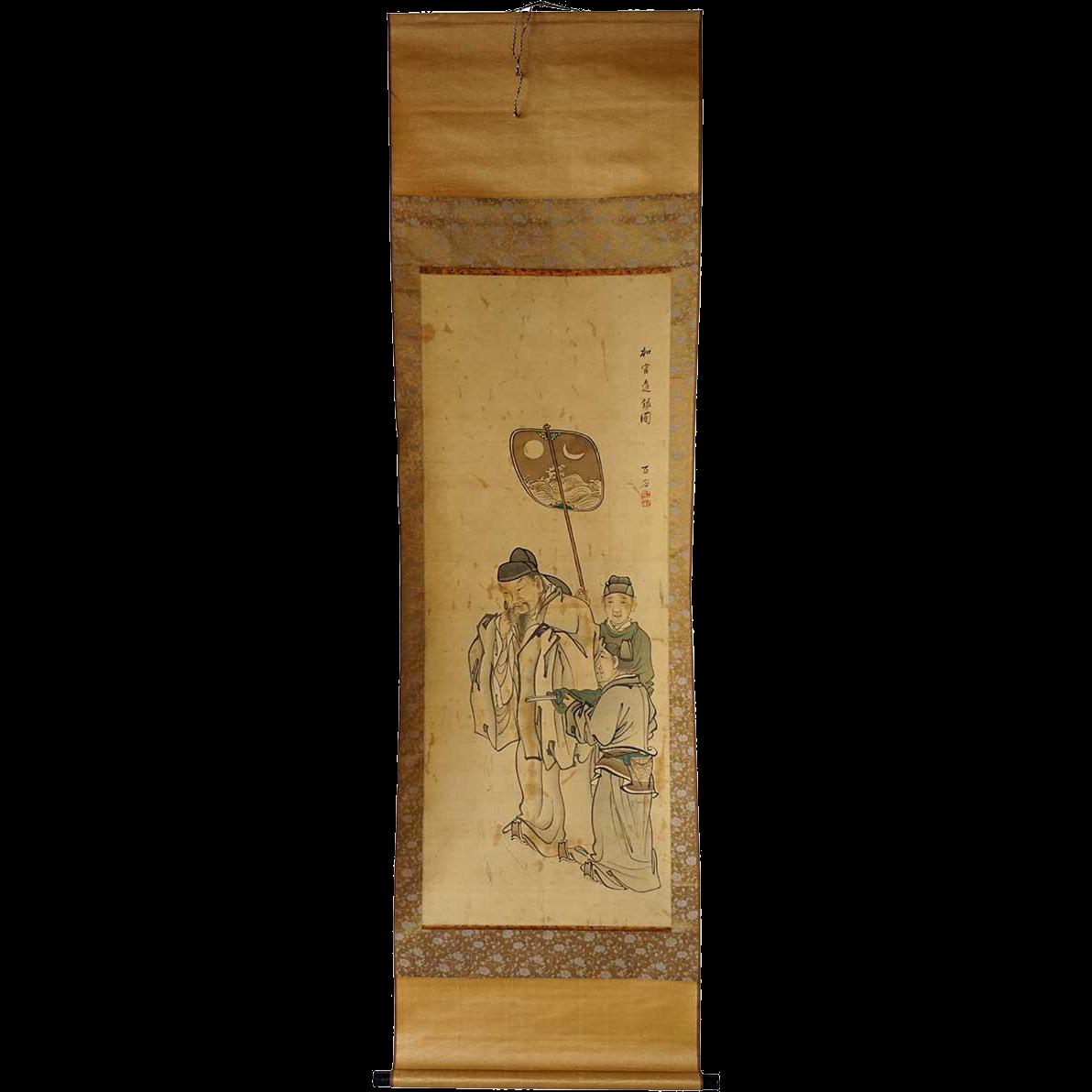 Vintage Japanese Watercolor and Ink Brush Hanging Scroll Painting (Kakejiku)