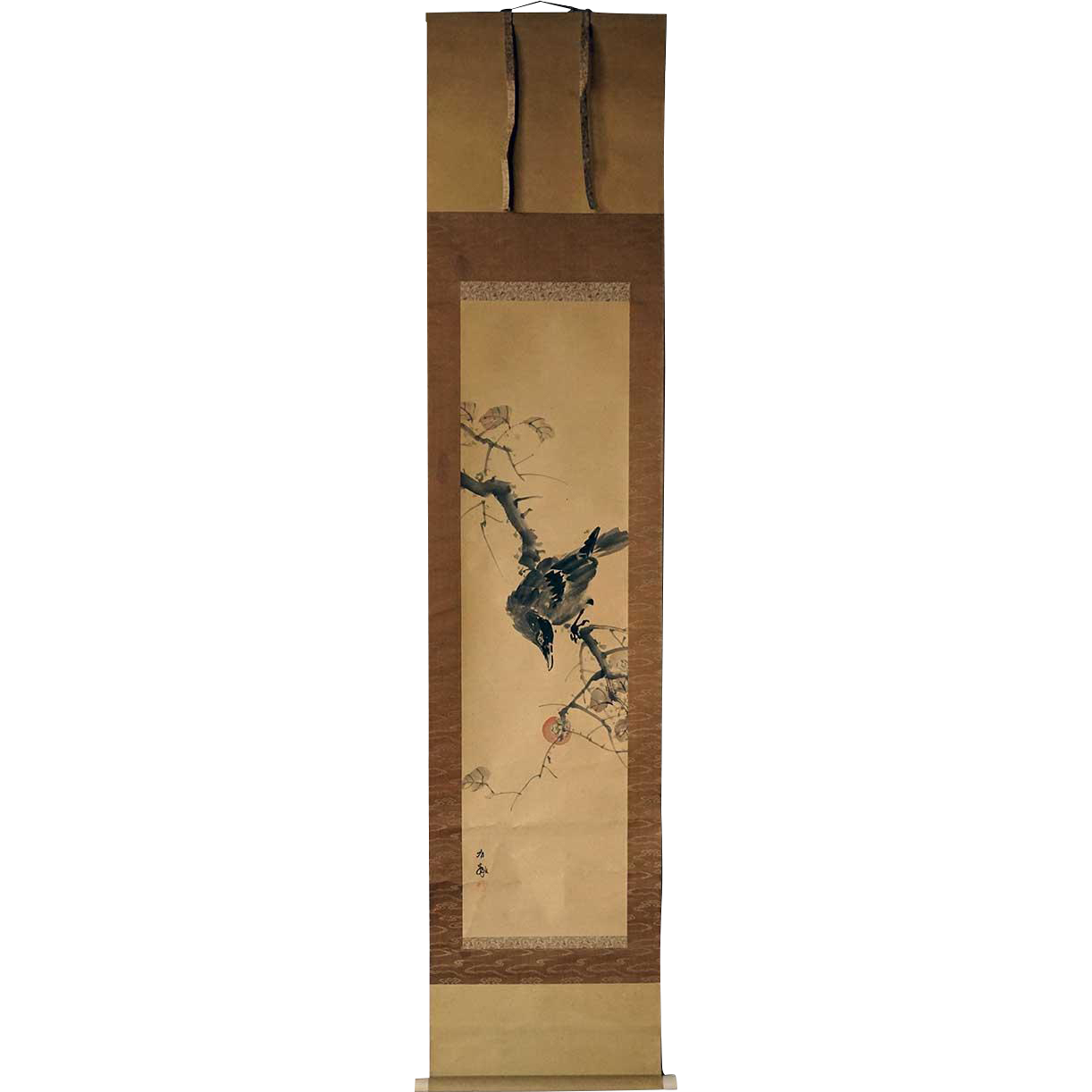 Vintage Japanese Ink Painting on Paper Vertical Hanging Scroll (Kakejiku) of a Crow and Persimmon