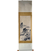 Vintage Japanese Vertical Hanging Scroll (Kakejiku) Ink Painting on Paper of a Landscape