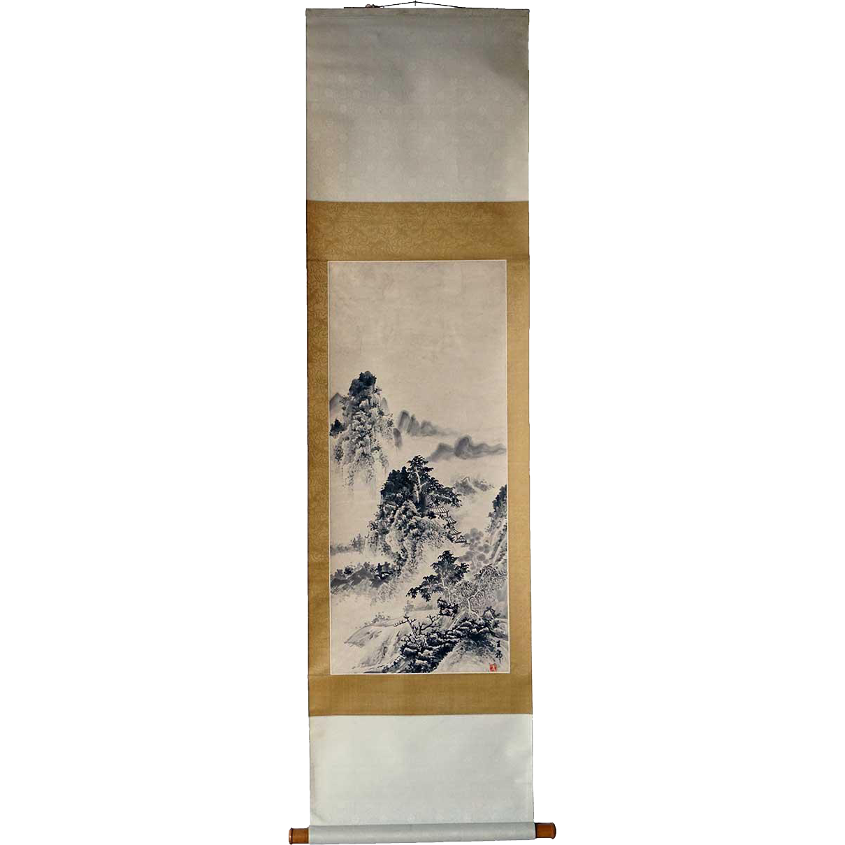 Chinese Vertical Hanging Scroll Ink Painting on Paper of a Landscape