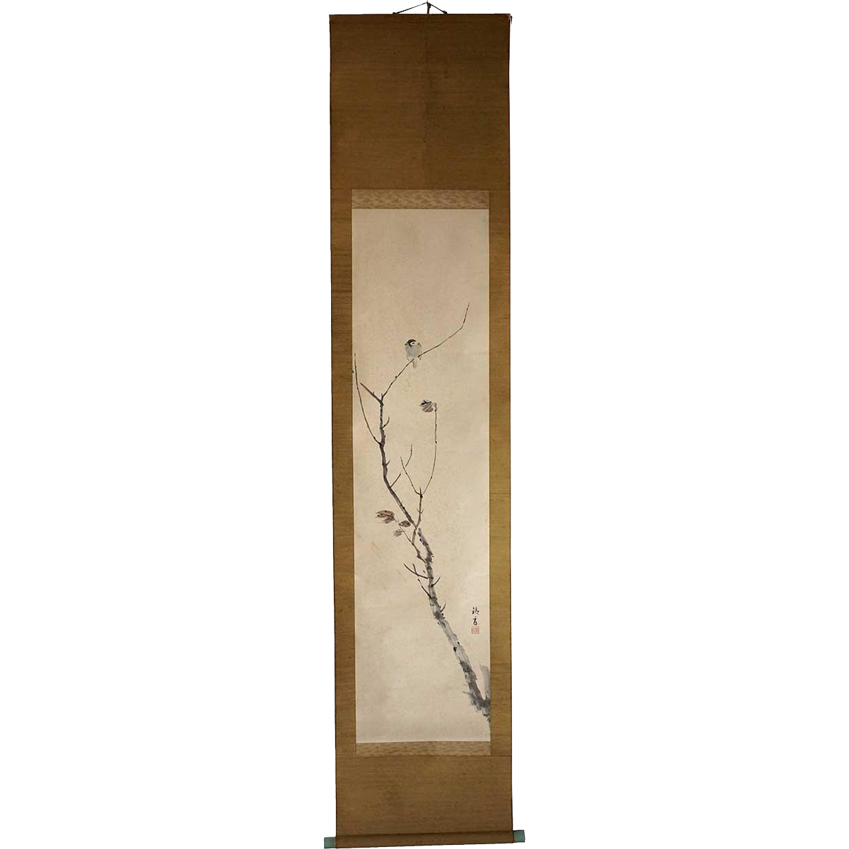 Vintage Japanese Ink Painting on Paper Vertical Hanging Scroll (Kakejiku) of a Sparrow Perched on a Branch