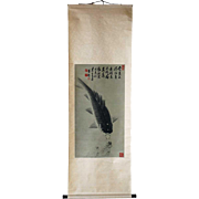 Asian Ink on Paper Vertical Hanging Scroll Painting of Koi