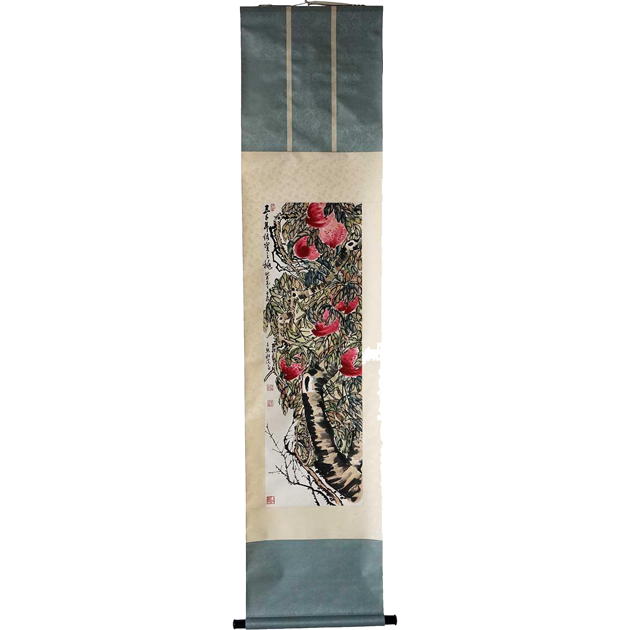 Asian Vertical Scroll Painting on Paper of a Fruit Tree Branch