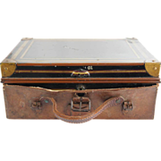 Anglo Indian Allibhoy Vallijee & Sons Campaign Leather and Toleware Despatch Box