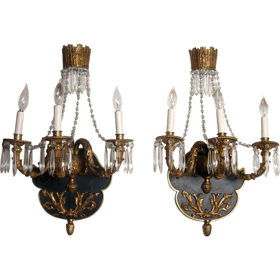 Pair of French Louis XVI Revival Gilt and Crystal Three-Light Sconces