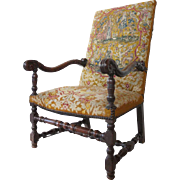 French Baroque Period Needlepoint Upholstery Open Armchair