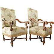 Pair of French Louis XIV Style Oak Upholstered Armchairs