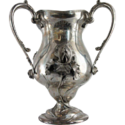 Large American Art Nouveau Homan Silver-plate Loving Cup Trophy