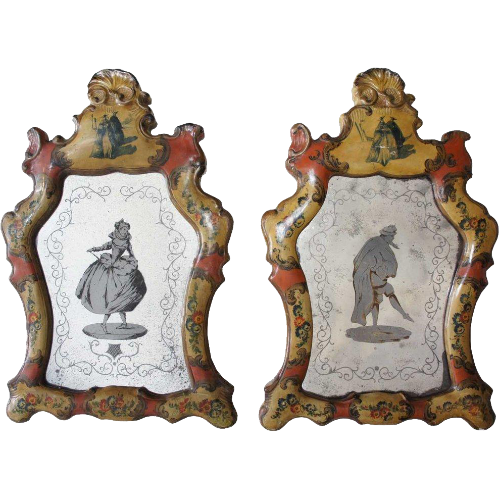 Pair of Italian Rococo Style Painted Wood Mirrors