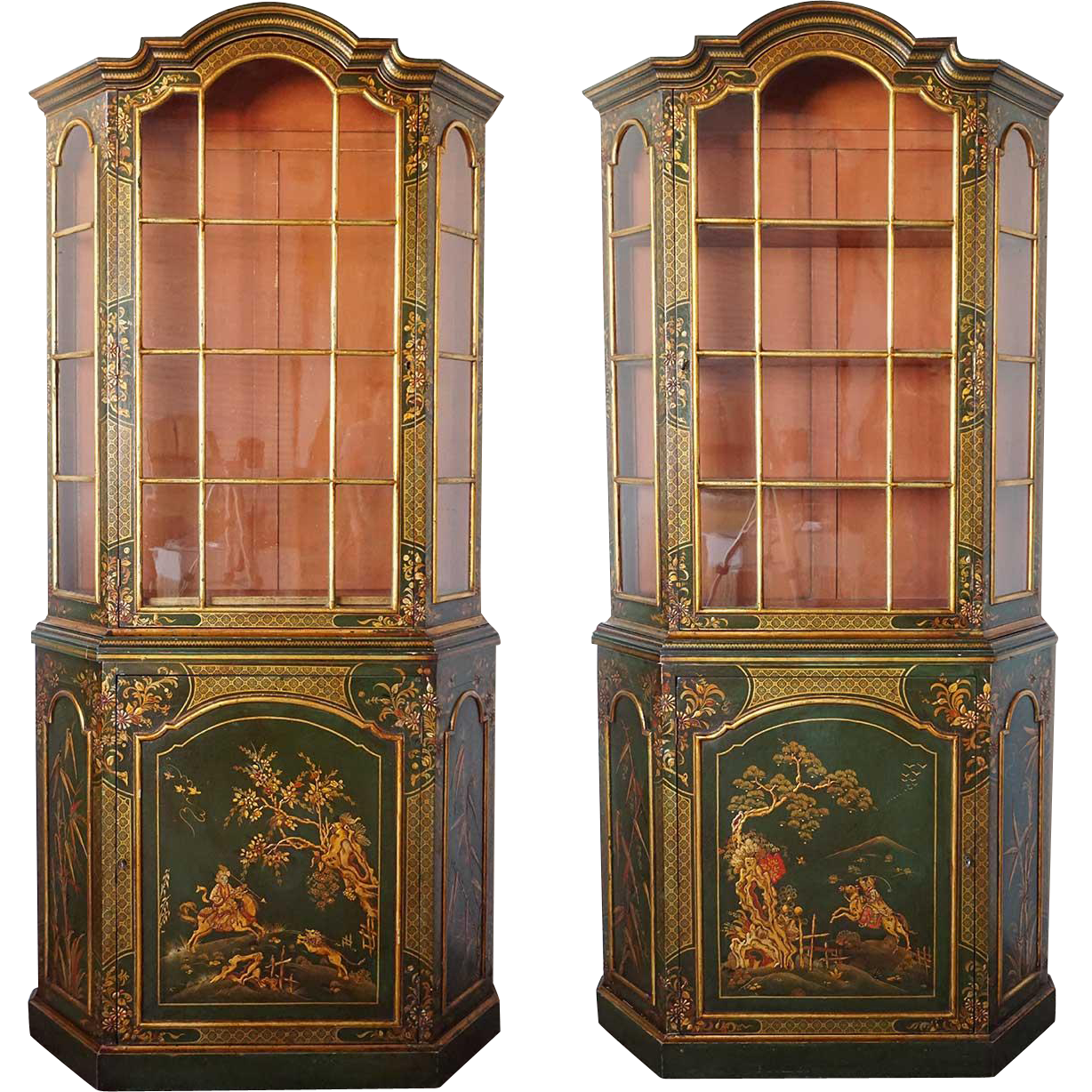 Pair of Vintage English Chinoiserie Style Painted Cabinets
