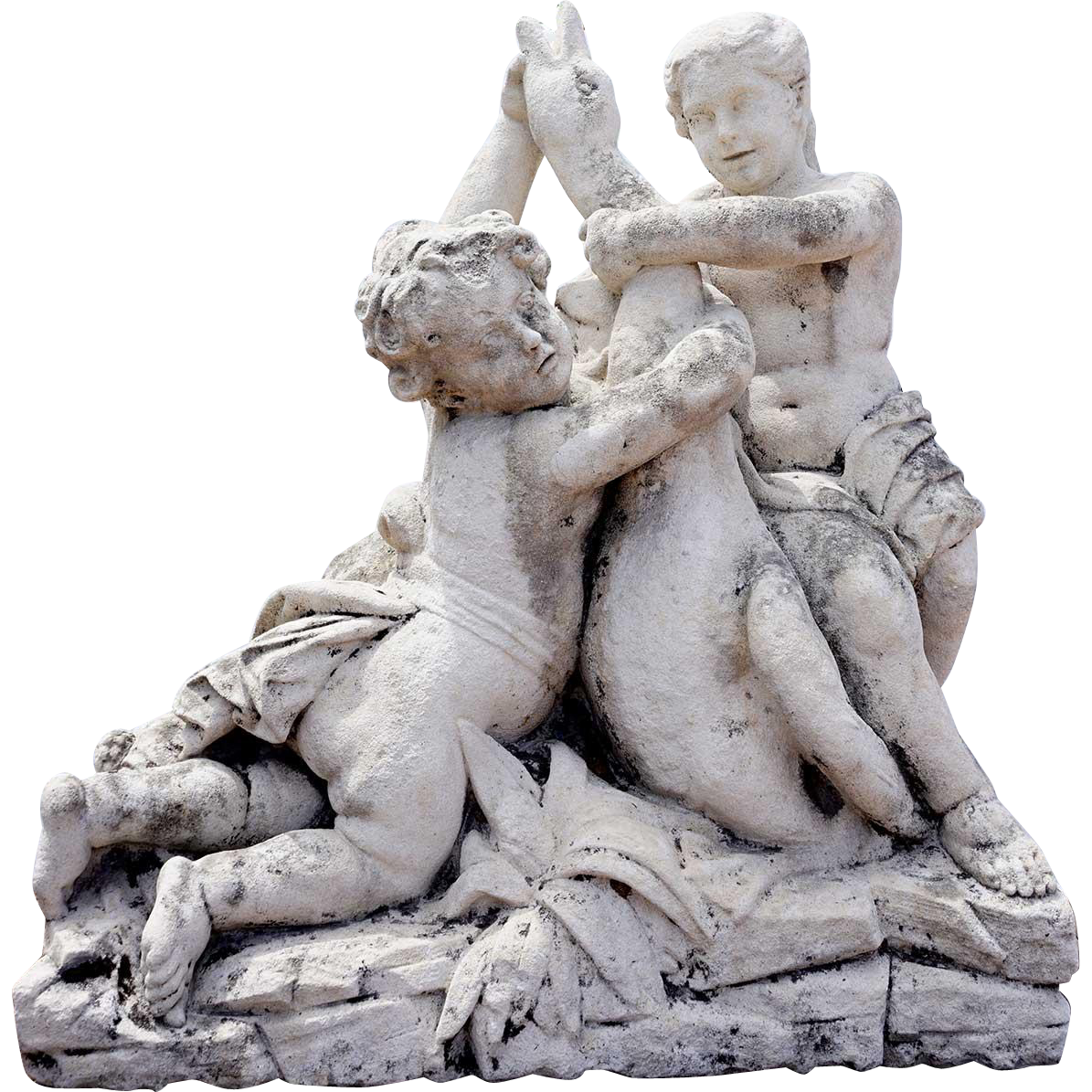 French Limestone Statue, Cherubs Wrestling a Goose