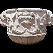 Italian Neoclassical Stone Ram's Head Garden Urn