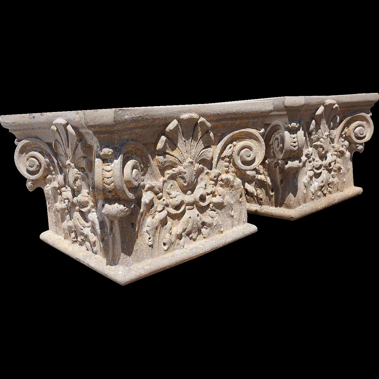 Pair of American Neoclassical Terracotta Architectural Pillar Tops