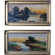 Pair of English Oil on Canvas Paintings, Glendining