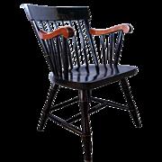 Vintage American Black Windsor Dartmouth College Armchair