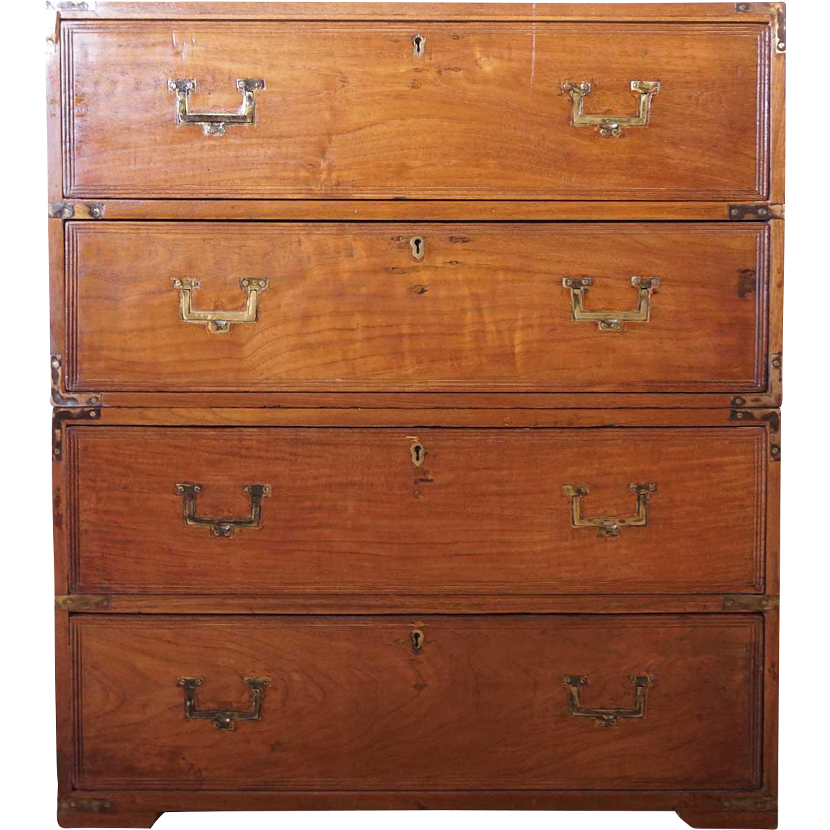 Small Anglo Indian Brass Mounted Teak Campaign Chest