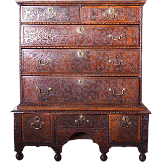 English Carved Oak and Walnut Chest on Chest