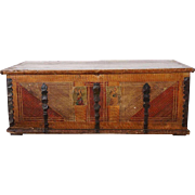 German Faux Grain Painted Pine Iron Mounted Blanket Chest