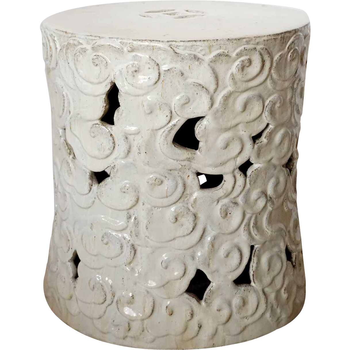 Chinese Shiwan White Glazed Pottery Reticulated Garden Stool