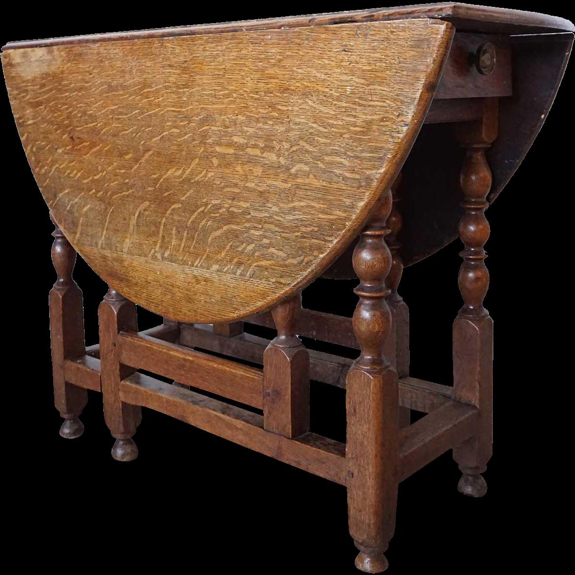 English Georgian Oak Drop-leaf Gate-leg Oval Table