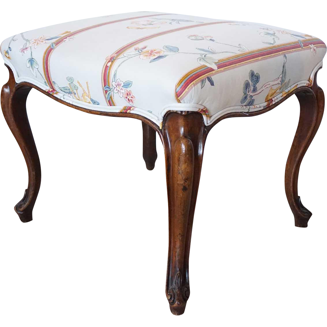 French Louis XV Style Mahogany Upholstered Cabriole Leg Stool