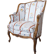 French Louis XV Style Pale Beechwood Upholstered Bergere Chair