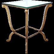 Vintage Italian Glass Top Gilt Metal Side Table