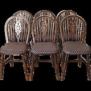 Set of Six Vintage English Wheel Back Windsor Side Chairs