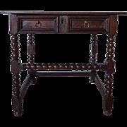 English Jacobean Oak Bobbin-Turned Side Table