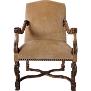 French Louis XIV Style Suede Upholstered Armchair (Fauteuil)