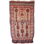 Small Vintage Blue, Red and Tan Rug