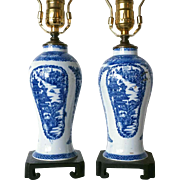 Pair of English Staffordshire Chinese Export Style Blue and White Table Lamps