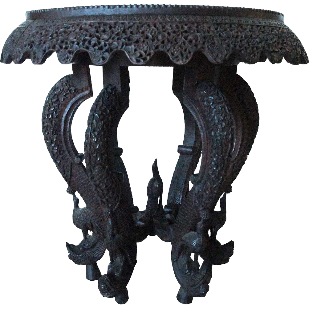 Anglo Indian Victorian Bombay Carved Teak Revolving Tea Table
