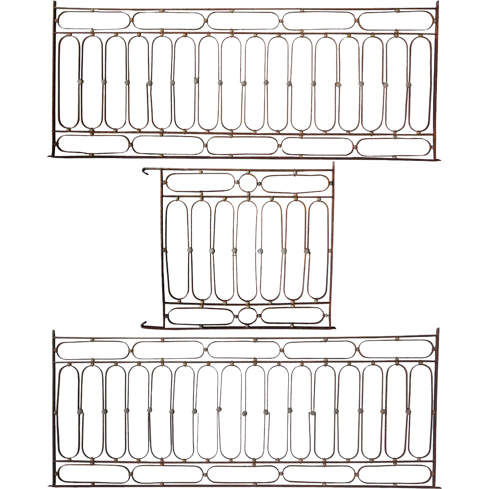 French Wrought Iron Four-Piece Balcony Railing Set